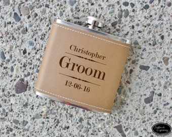 Groomsmen Flask, Groomsman Gift, Custom Flask, Personalized Flask, Engraved Flask, Hip Flask, Leather Flasks, Wedding Flask, ANY QUANITIY