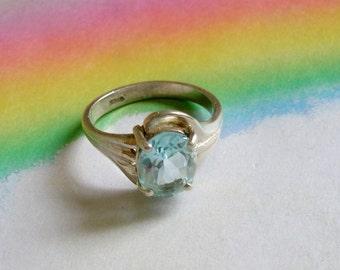 Vintage Blue Topaz Sterling Ring Size 7