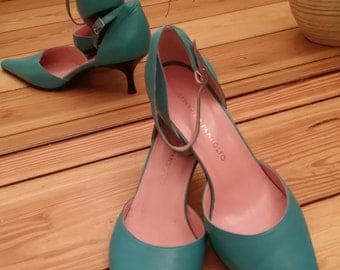 Leather Shoes for Her/Sky blue leather shoes, high heel,made in Italy, tango shoes, elegant,EU 40, US 8.5