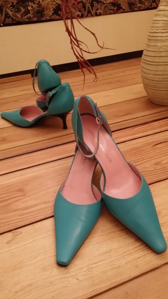 Leather Shoes for Her/Sky blue leather shoes high heelmade