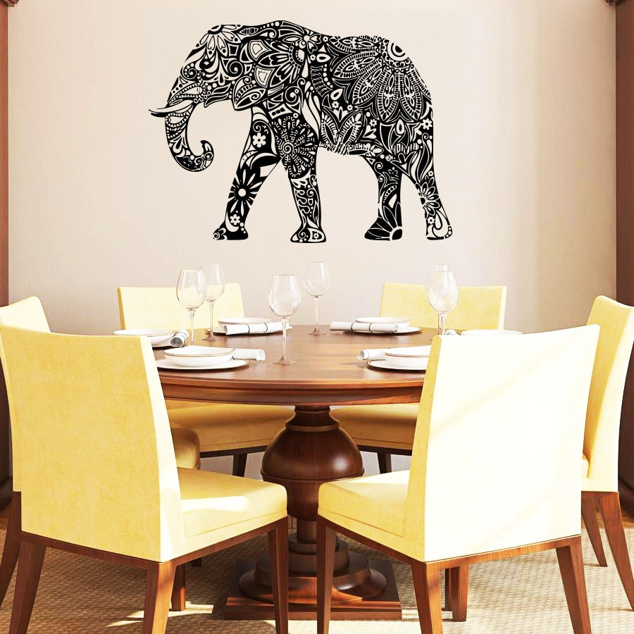 Wall decal elephant vinyl sticker decals home decor by for Autocollant mural