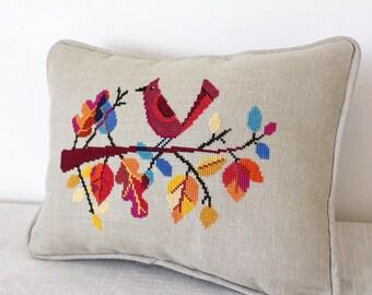 Autumn Bird - Satsuma Street modern cross stitch pattern PDF - Instant download