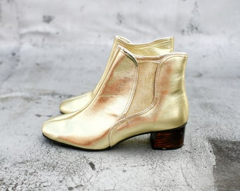 1970's Golden Girl Ankle Boots- 6.5