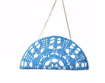 Elegant embroidered straw bag, handmade lace clutch, light blue crochet doily lace .