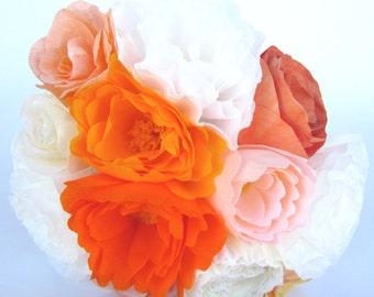 Orange Paper Flower Bouquet, Peach Bouquet