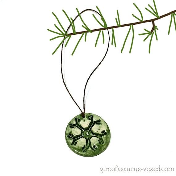 Small Christmas ornament, IgM antibody pentamer, ceramic holiday ornament for science geeks