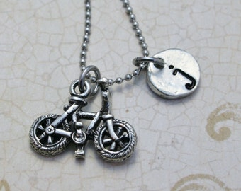 Custom Initial jewelry Bicycle charm Cycling jewelry Handstamped Initial Necklace Personalized Initial Jewelry Bicycling Necklace Oxidized