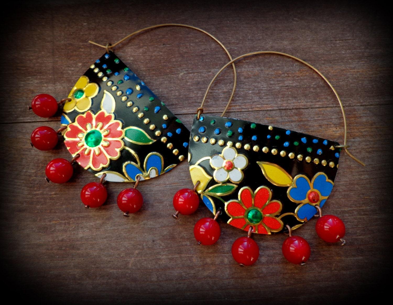 ethnic hoop earrings big earrings vintage tin