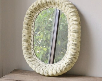Vintage Wicker/Rattan Oval Mirror - Yellow