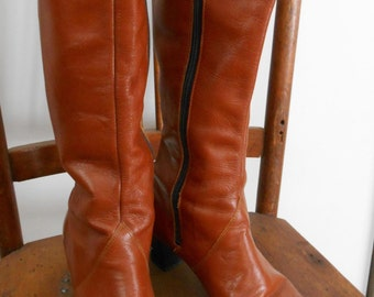 Vintage 70's-80's Carmel Tall Leather  Boots - Size 7.5 Narrow