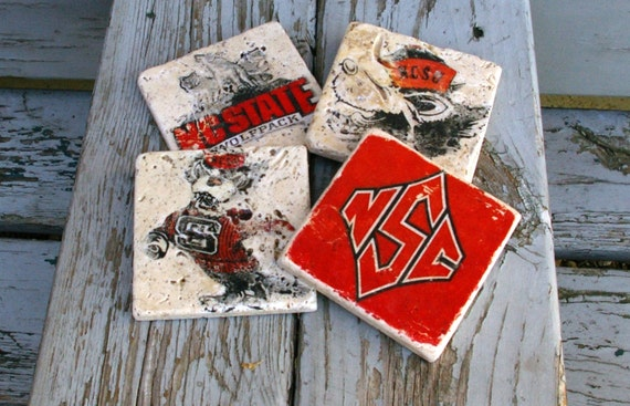 NC State Drink Coasters/ Man Cave/ By KandBCreativeDesigns