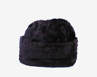Women fur hat soviet vintage rabbit hat authentic USSR rabbit hat chcolate brown warm winter hat gift for women lumberjack hat autumn hat