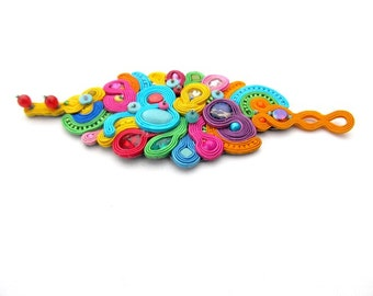 Colorful Cuff Bracelet, Handmade Soutache Barcelet, Unique Beaded Bracelet, Rainbow Barcelet, Soutache Jewelry