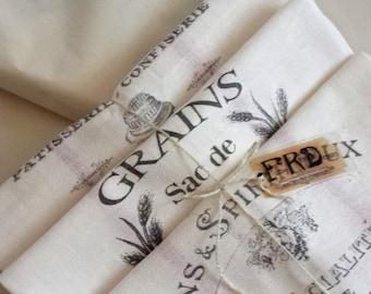 Vintage French Grain Sack Tea Towels, Cotton Kitchen drying towels, set 3