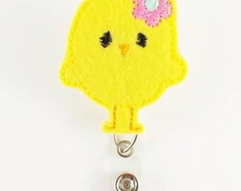 Chick - Felt Badge Reel - Nurse Badge Holder - RN Badge Reel - Retractable ID Badge - Cute Badge Reels - Peds Easter Badge Clip - Badge Pull