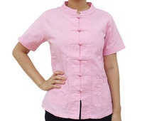 Women's Short Sleeve Kung Fu Tai Chi Cotton Shirt Pink
