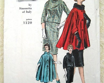 Rare 60s Simonetta of Italy Two Piece Dress and Cape Vogue Couturier Design 1120 Size 14