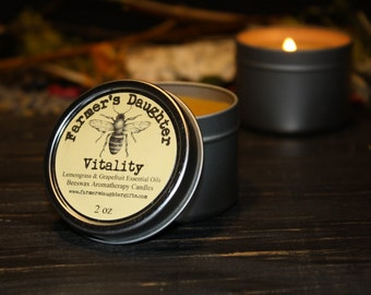 BEESWAX AROMATHERAPY Candle, VITALITY- Lemongrass & Grapefruit Candle- Pure Beeswax, Aromatherapy Candles- Farmer's Daughter Candles