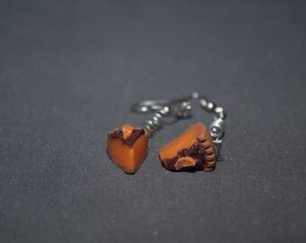 Polymer clay earrings Orange earrings Brown earrings Sweet earrings OOAK earrings Dangle earrings Spring earrings Food earrings Petit Long