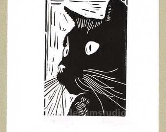 Black Cat Art Print - 'Curiosity'- Linocut Print Original Handmade