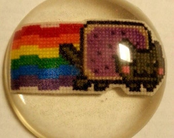 Nyan Cat Cross stitch Embedded in Resin Magnet
