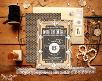 Great Gatsby Bridal Shower Invitations - Art Deco Vintage Wedding Shower Invites - Printable or Printed