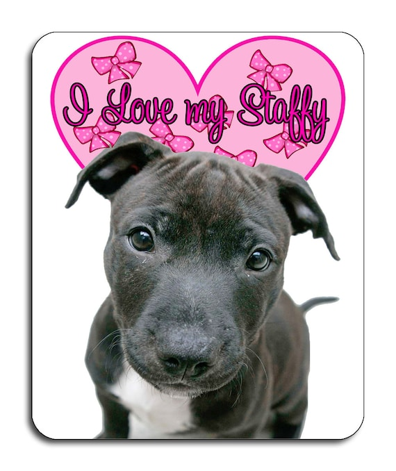 Staffordshire Bull Terrier, I Love My Staffy, Mouse Mat, Mouse Pad