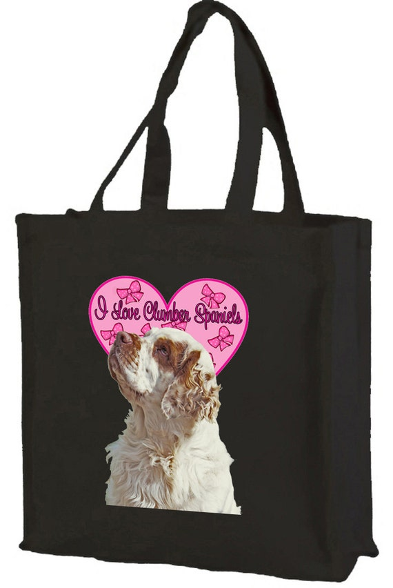 I Love Clumber Spaniels Cotton Shopping Bag with gusset and long handles, 3 colour options