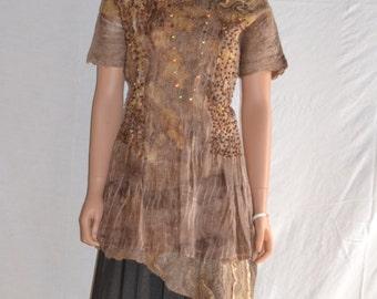 Eco fashion dress  Nuno felted   light mint from natural silk and woolNuno felt dress  - Mini wool dress - Boho Pixie dress -