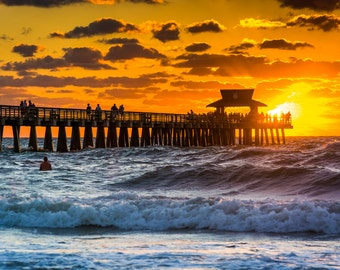 Sunset over the fishing pier and Gulf of Mexico in Naples, Florida - Beach Photography Fine Art Print or Wrapped Canvas