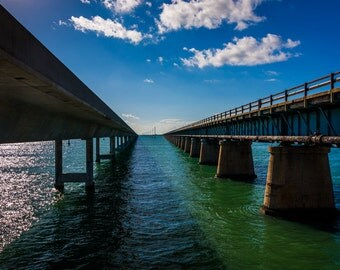 The Seven Mile Bridge, on Overseas Highway in Marathon, Florida - Beach Landscape Photography Fine Art Print or Wrapped Canvas