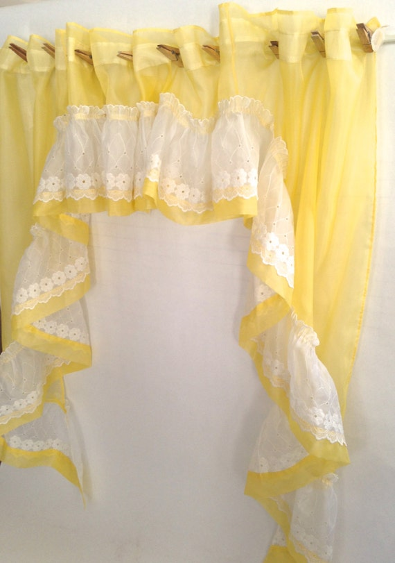 sheer sunny yellow swag white eyelet ruffle cafe curtains easy care