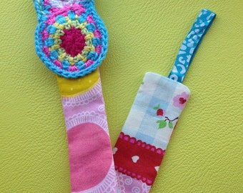 Baby Pacifier clip / holder crochet matryoshka and flower fabric
