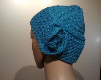Turquoise Blue cap with cable pattern