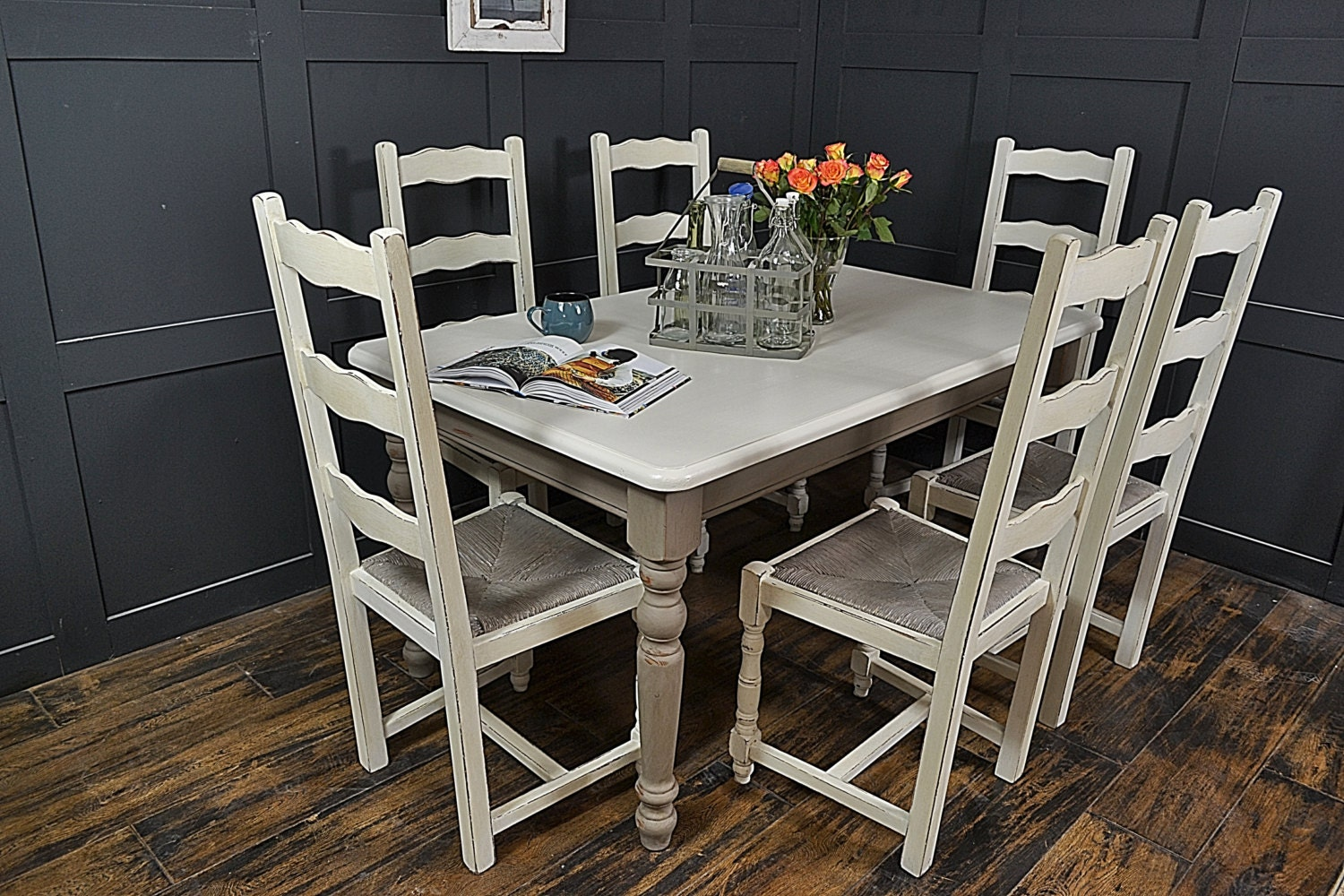 Grey & White Farmhouse Dining Table with 6 by TheTreasureTroveUK