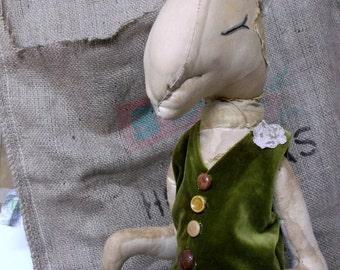 Huge Primitive textile rabbit sculpture, soft sculpture, made to order, each one unique, wedding, prim bunny, prim rabbit, textile rabbit