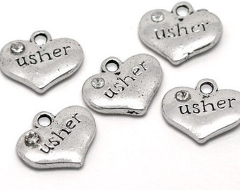 4 Wedding  Charms - Usher Charms - Antique Tibetan Silver Charms -MC0475