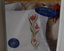 Embroidery Pillowcases Kit - Special Edition Pillow Cases Bucilla 65509 - Tulip - stamped to embroidery - unopened