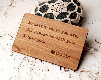 Walnut Wood Wallet Insert Card, Personalized 5th Anniversary Gift, Custom Laser Engraved Wallet Insert, Real Wood Wallet Card