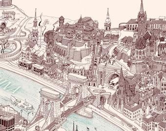 Bird's Eye View Map of Budapest - Desktop Wallpaper