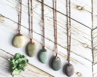 Beach pebble necklace | Raw stone necklace | Beach stone necklace | Pebble pendant on copper chain | Marthas Vineyard beach pebble necklace