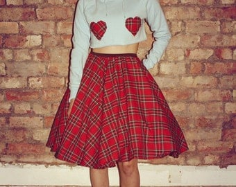90's Punk Grunge Blue Crop Jumper Tartan Love Hearts