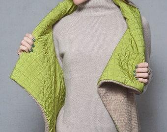 Vest, rewersible vest, sweaters, wool Sweater, beige, Asymmetric vest, winter jacket, vest of wool, New, Fall Winter,Steet fashion,Wool