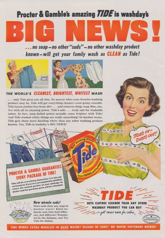 1940s Tide Laundry Detergent Ad Retro Housewife Vintage