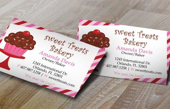 Cupcake Stripes Bakery Business Card Design Editable
