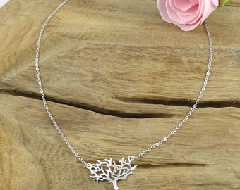 Tree of life necklace rhodium plated - silver