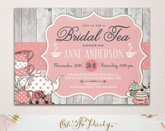 SHABBY TEA Custom Bridal Shower Invitation Card