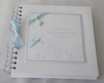 """Personalised Baby Boy Christening/Naming Day Album With Interleaving,8"""" x 8"""" Embossed Ducks ,Boxed"""