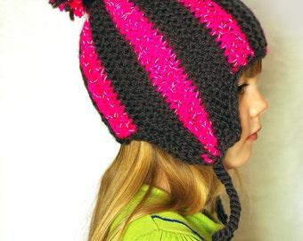 Kids reflective striped ear flap hat, aviator cap, trapper hunter hat, knit hat, winter hat, pompom hat, knitted reflector hat