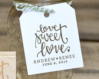 Love Sweet Love Rubber Stamp, With or WIthout Personalized Name, Wedding Favor Tags with Wedding Date